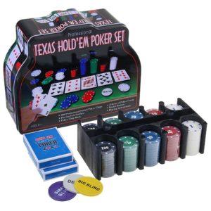 Набор для игры в покер на 200 фишек. Жестяная коробка